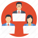 business team, office employees, official employees, remote staff, virtual staff icon