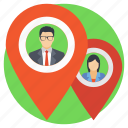 business location, business people pins, business relocation, location pin, office location icon
