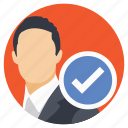 business decision making, businessman checkmark, chosen one, recruitment, selected candidate icon