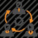 gear, team, teamwork, users icon