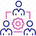 cog, employee, group, organization, team, workforce icon, workforce management icon