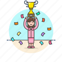 reward, teamwork, celebration, trophy, winner, woman, prize, achievement
