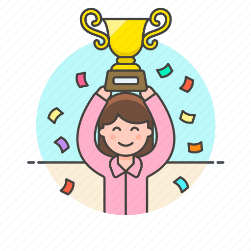 achievement, celebration, prize, reward, teamwork, trophy, winner, woman icon
