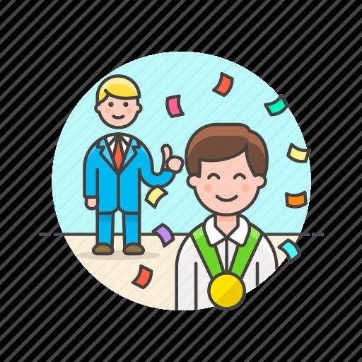 achievement, business, celebration, group, medal, reward, teamwork icon