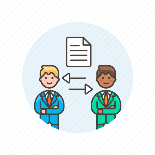 business, cooperate, document, exchange, file, share, team, work icon
