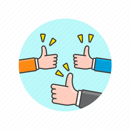 approve, business, hand, team, thumbs, up, vote, work icon