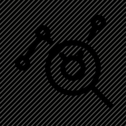 analysis, analytics, organization icon, search icon
