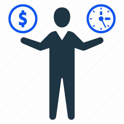 business, man, management, money, time, time is money icon