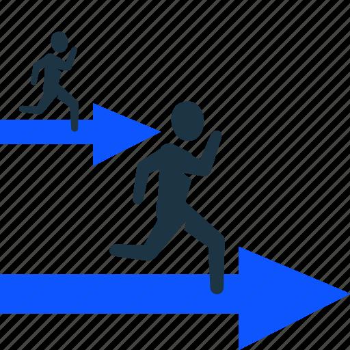 businessman, performance, race, strategy, success, winner icon