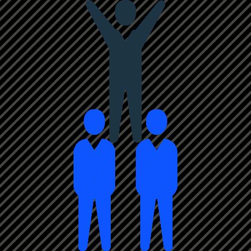 help, leader, success, team, teamwork, winner icon