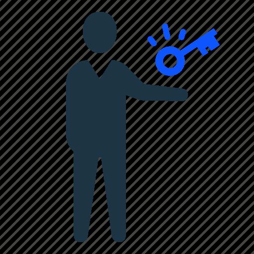 businessman, key, leader, success, success key icon