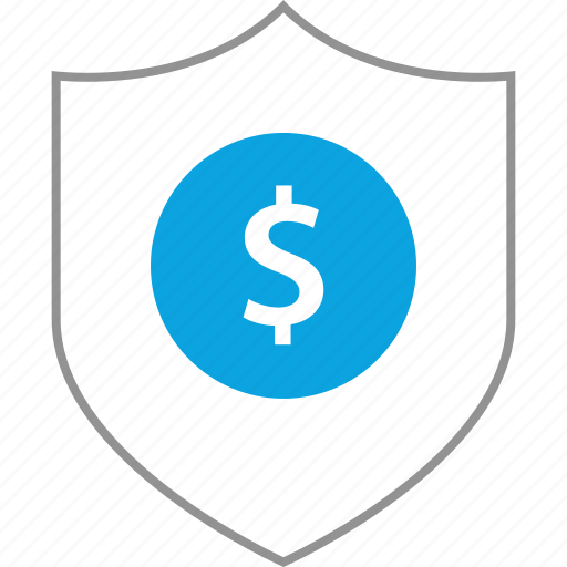dollar, shield, sign, web icon