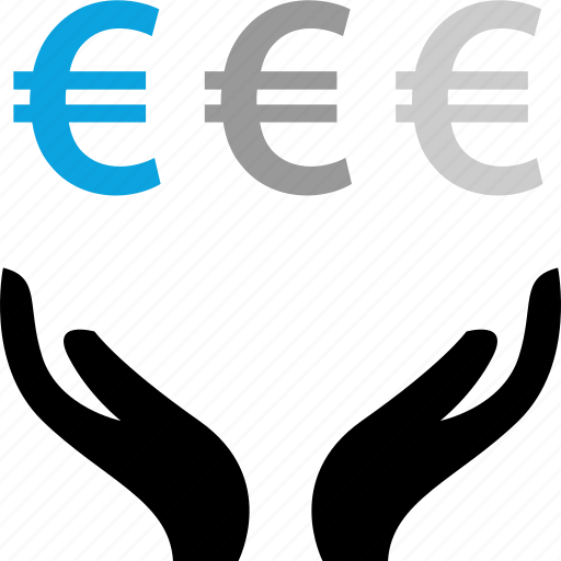 euro, hands, money, sign icon