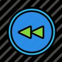 backward, circle, device, tech, technology icon