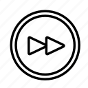 circle, device, forward, tech, technology icon