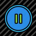 circle, device, pause, tech, technology icon