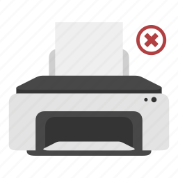 close, cross, device, exit, print, printer icon