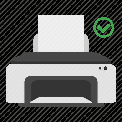 device, ok, print, printer, tick, yes icon