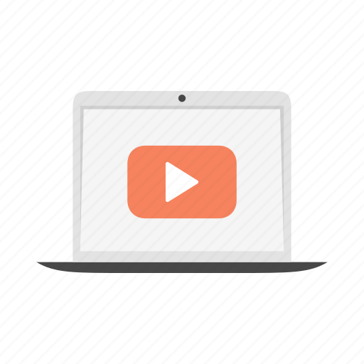 device, laptop, notebook, play, video, youtube icon