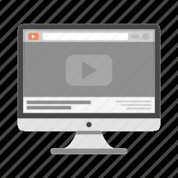 imac, monitor, movie, video, website, youtube icon