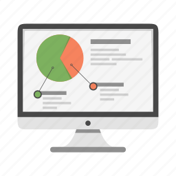 analysis, analytics, chart, imac, metrics, monitor, report icon