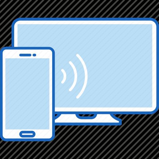 cast, chromecast, computer, miracast, monitor, phone, tv icon