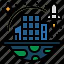 city, colony, future, space, space colonization, technology disruption icon