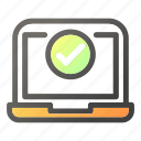 approved, computer, desktop, laptop, ok icon