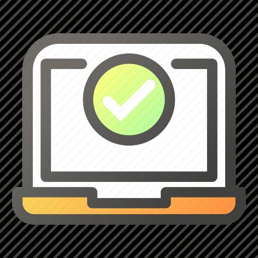 approved, computer, desktop, laptop, ok icon