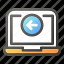 arrow, computer, desktop, direction, laptop, left