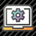 cog wheel, computer, desktop, gear, laptop, monitor