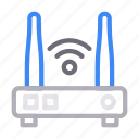 antenna, modem, router, signal, technology icon