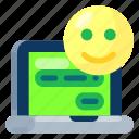 communication, emoticon, future, gadget, internet, laptop, technology icon