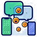 chat, communication, conversation, device, emoticon, smartphone icon