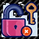 cancel, delete, key, lock, privacy, security, unlock