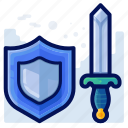 protection, security, shield, sword