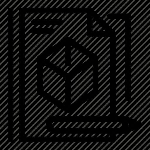 box, file, pencil, technology icon