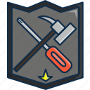 hammer, protection, scredriver, shield, strong, technology, tools icon