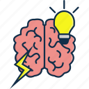 brain, bulb, technology, think, thinking, thunder icon