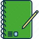 book, notebook, notes, paper, pen, technology icon