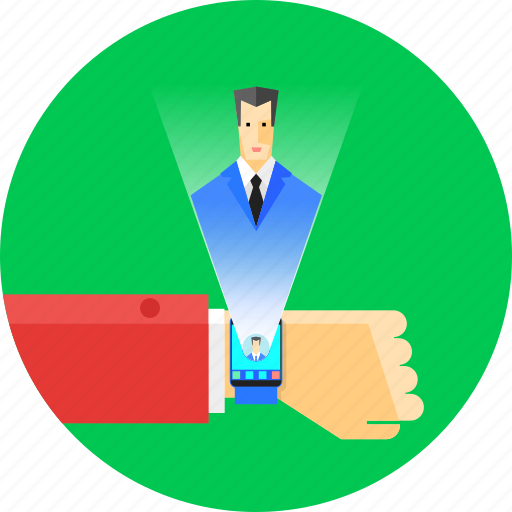 business, communication, connection, future, hologram, smartwatch, technology icon