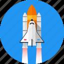 shuttle, spaceship, missile, space, spacecraft, start, startup icon