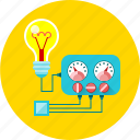 ammeter, electricity, energy, multimeter, physics, voltmeter, bulb icon