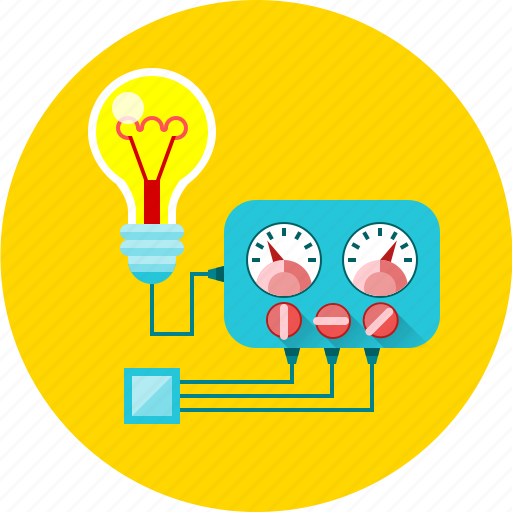 ammeter, bulb, electricity, energy, multimeter, physics, voltmeter icon