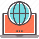 access, global, internet, laptop, technology icon