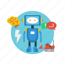 android, background, computer, modern, network, robot, technology icon