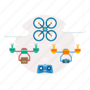 background, computer, drone, modern, network, remote, technology icon