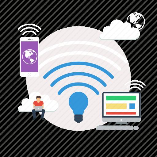 background, computer, internet, lifi, modern, network, technology icon