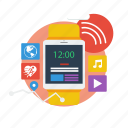 background, computer, concept, modern, network, smart watch, technology icon