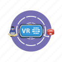 background, computer, modern, network, people, technology, virtual reality icon